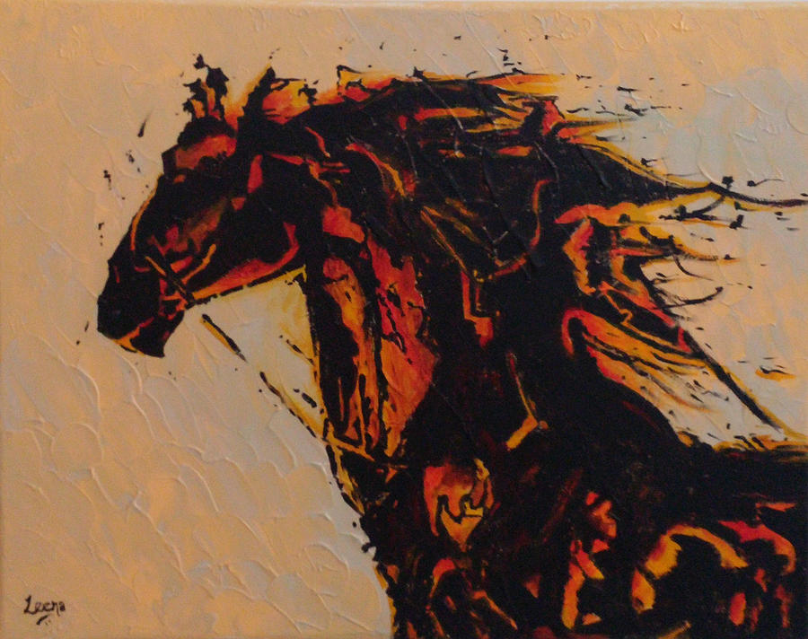 Horse Painting - Fire Horse by Leena Kewlani
