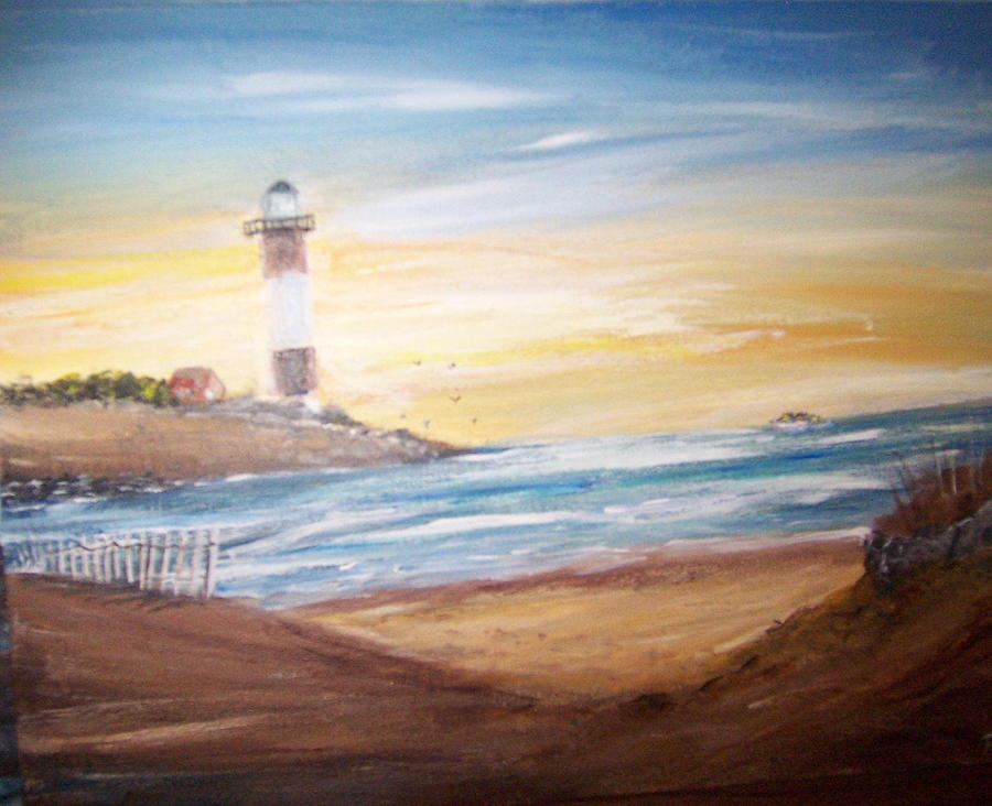 Light House Painting - fire I sland light house by Richard Finnell