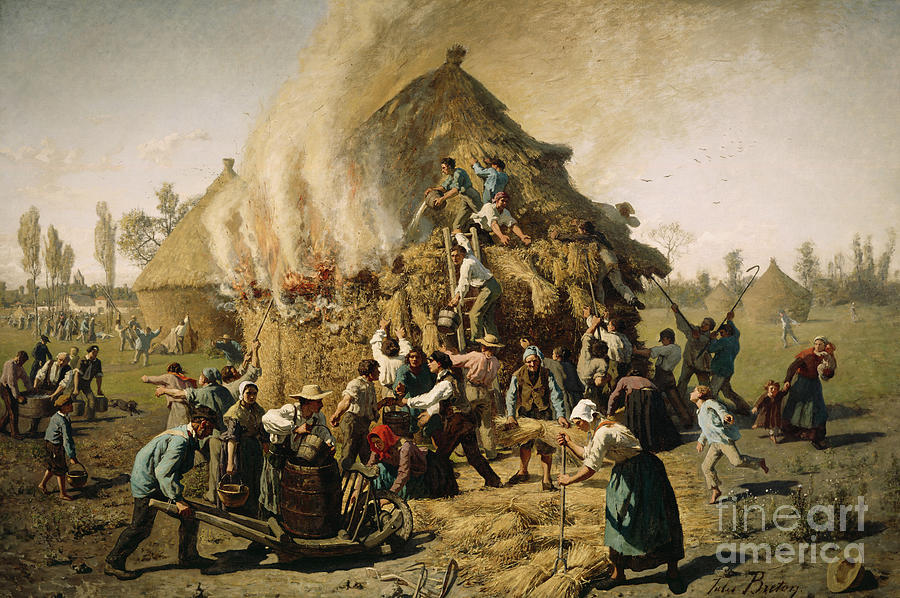 1856 Painting - Fire In A Haystack, 1856 by Jules Breton
