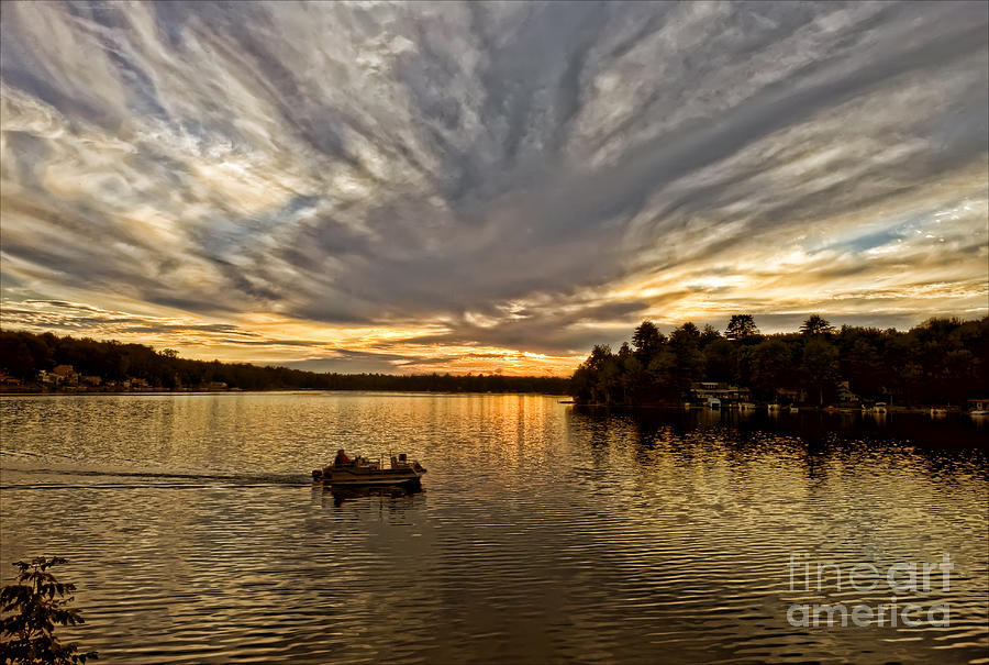 Sunset Photograph - Fire On The Lake by Pat Carosone