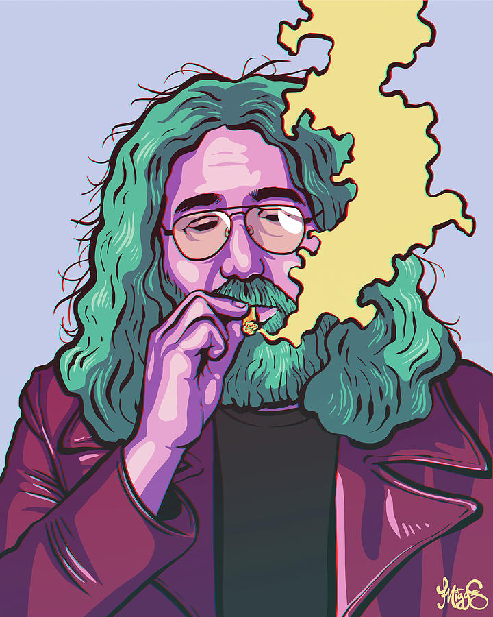 Jerry Garcia Drawing - Fire On The Mountain by Miggs The Artist