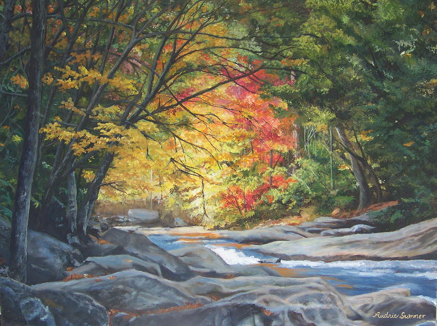 Cherokee Painting - Fire On The Water   Painting by Audrie Sumner