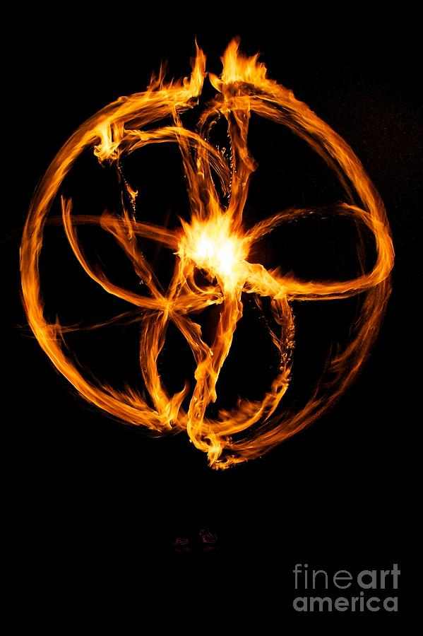 Fire Photograph - Fire Spinning by Darcy Evans