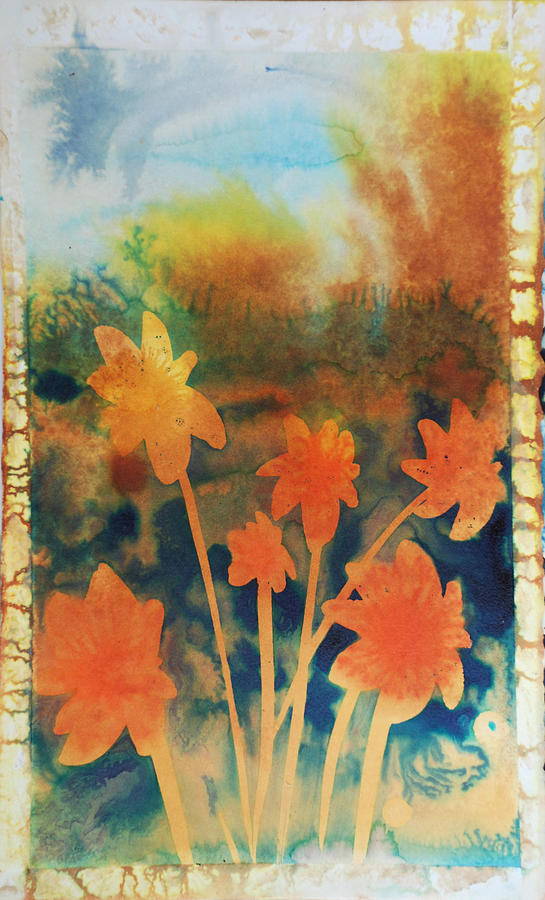 Flowers Bright Free Loose Blue Yellow Green Red Orange  Painting - Fire Storm In The Wild Flower Meadow by Amy Bernays