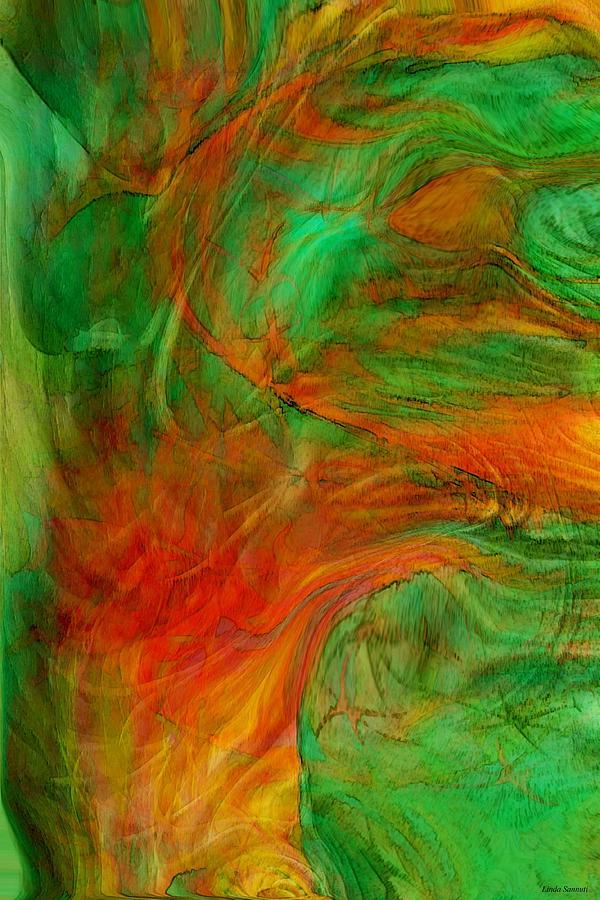 Digital Painting Digital Art - Fire Tree by Linda Sannuti