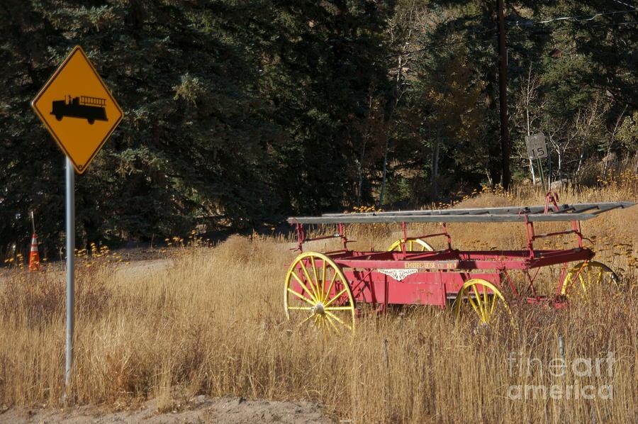 Fire Truck Photograph - Fire Truck Crossing by David Pettit