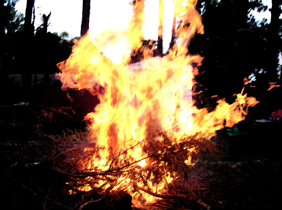 Burning Shed Photograph - Fire by Victoria Shenett