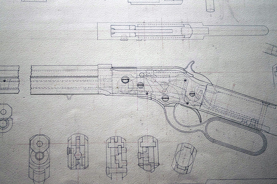 Rifle Photograph - Firearms Lever Action Rifle Drawing by Thomas Woolworth