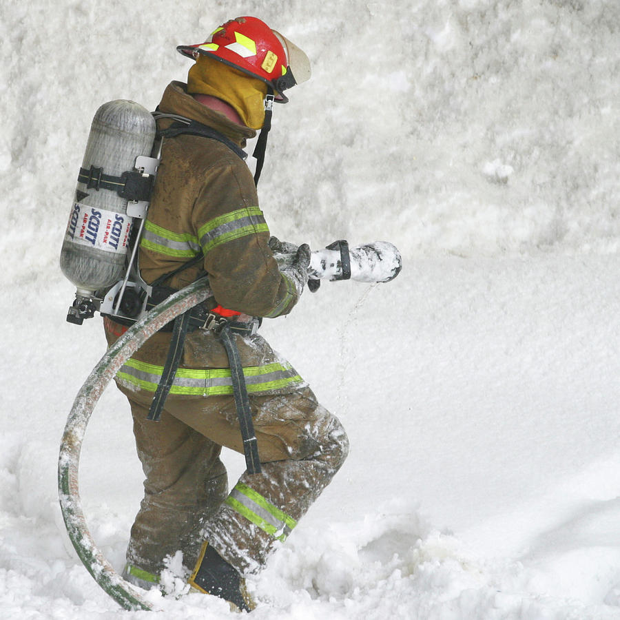 Square Photograph - Firefighter In The Snow by Jack Dagley
