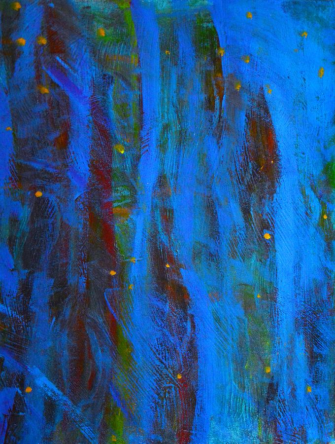 Fireflies In The Night Woods Abstract Painting By Stacie Siemsen