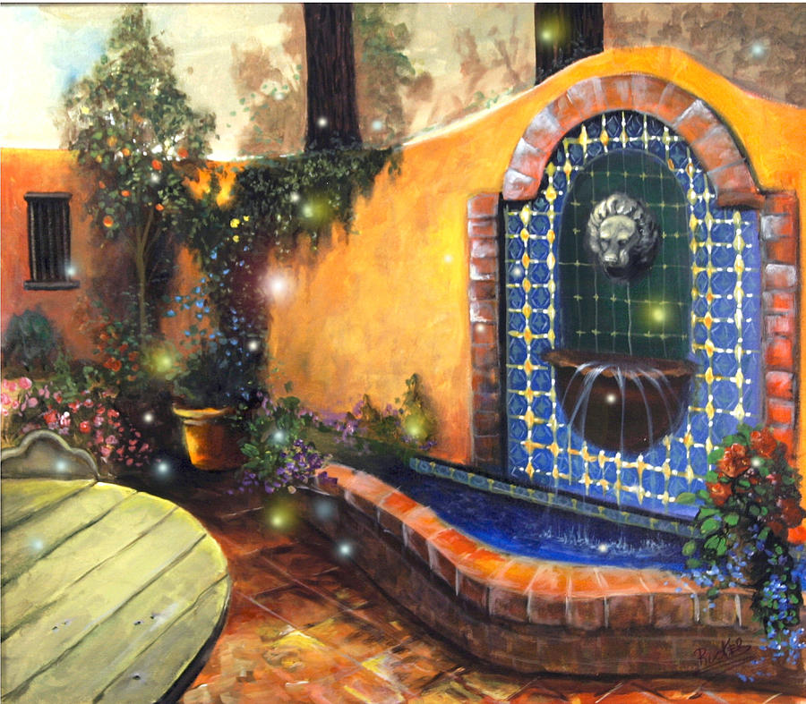 Fire Fly Painting - Firefly Courtyard by Mary  Rucker