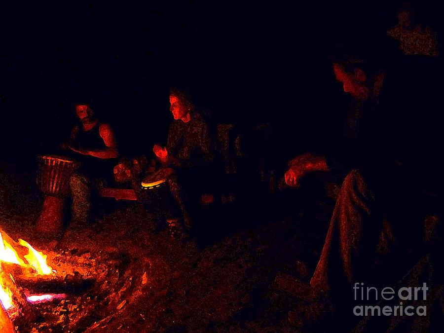 Night Photograph - Firelight Drumming by JoAnn SkyWatcher