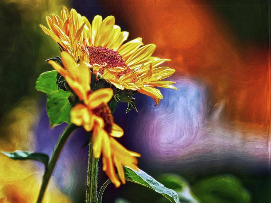 Firelit Sunflowers Digital Art by Doctor MEHTA