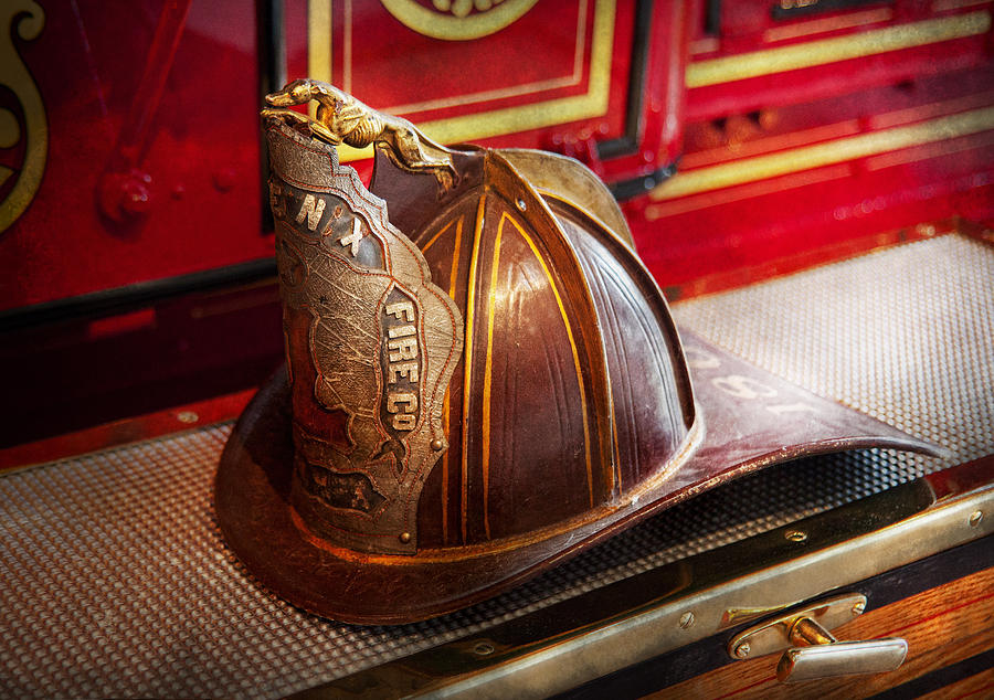 Hdr Photograph - Fireman - Hat - Commander  by Mike Savad