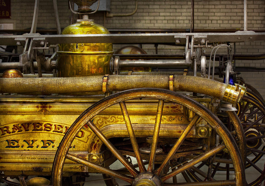 Hdr Photograph - Fireman - Piano Engine - 1855  by Mike Savad