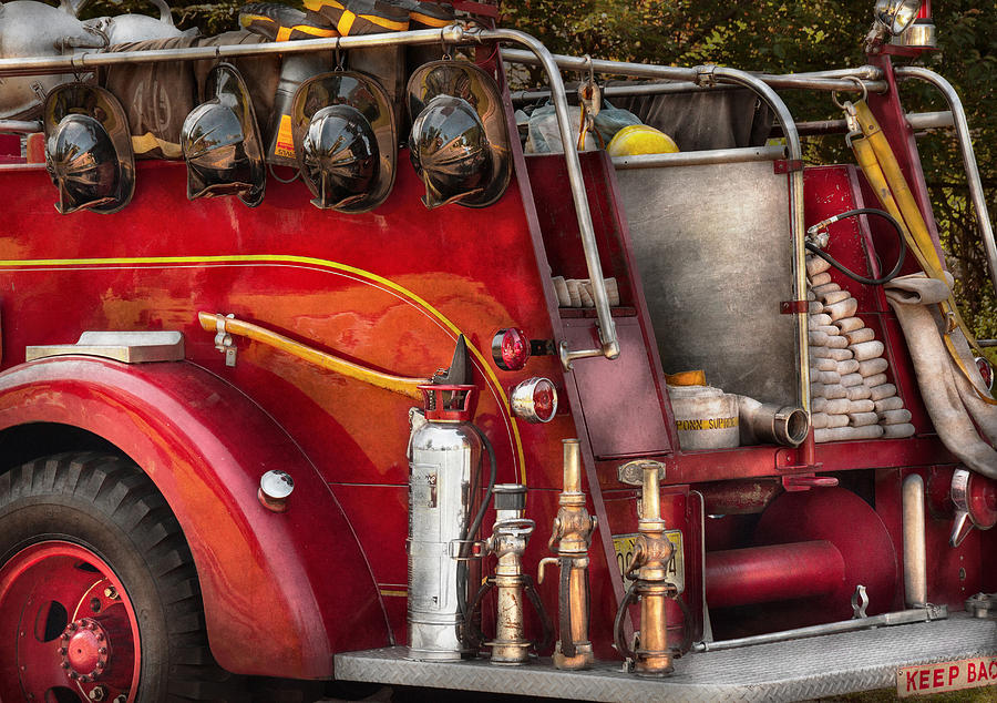 Suburbanscenes Photograph - Fireman - Ready For A Fire by Mike Savad
