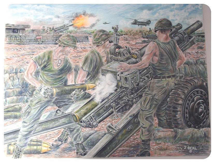 Drawing Drawing - Firemission Artillery On Fsb Melonie 1972 by James Beal