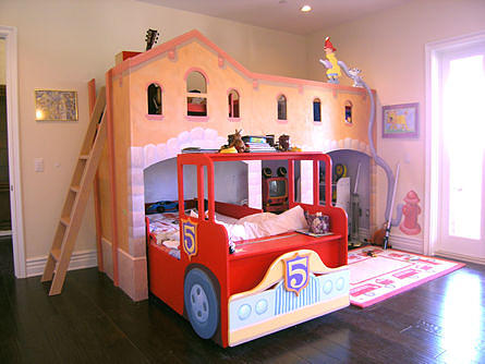 Firetruck Custom Furniture Bed Mixed Media by Mural Environments