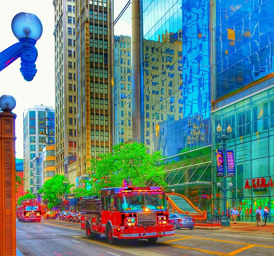 Building Photograph - Firetruck In Chicago by Marianne Dow