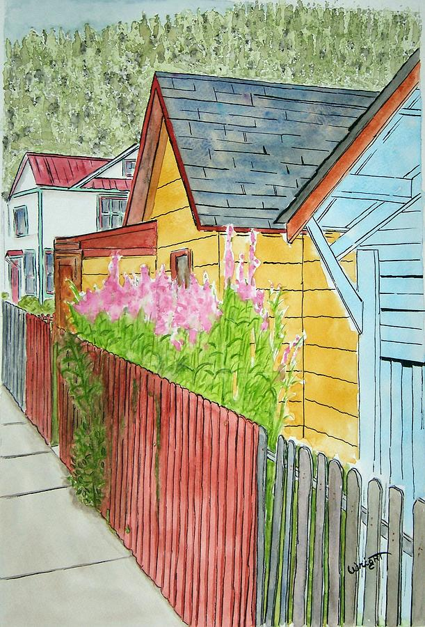 Houses Painting - Fireweed In Juneau by Larry Wright