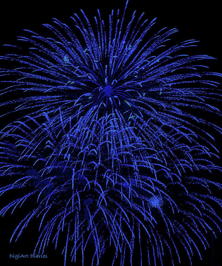 Fireworks Digital Art - Firework Blues by DigiArt Diaries by Vicky B Fuller