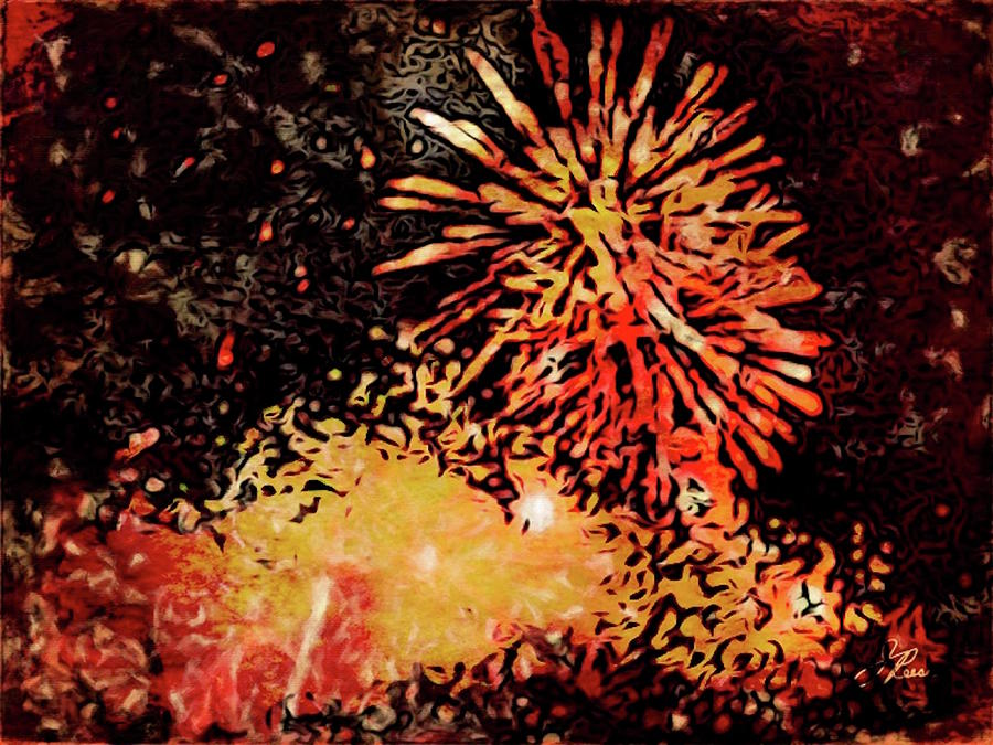 Fireworks Painting - Fireworks 4 by Joan Reese