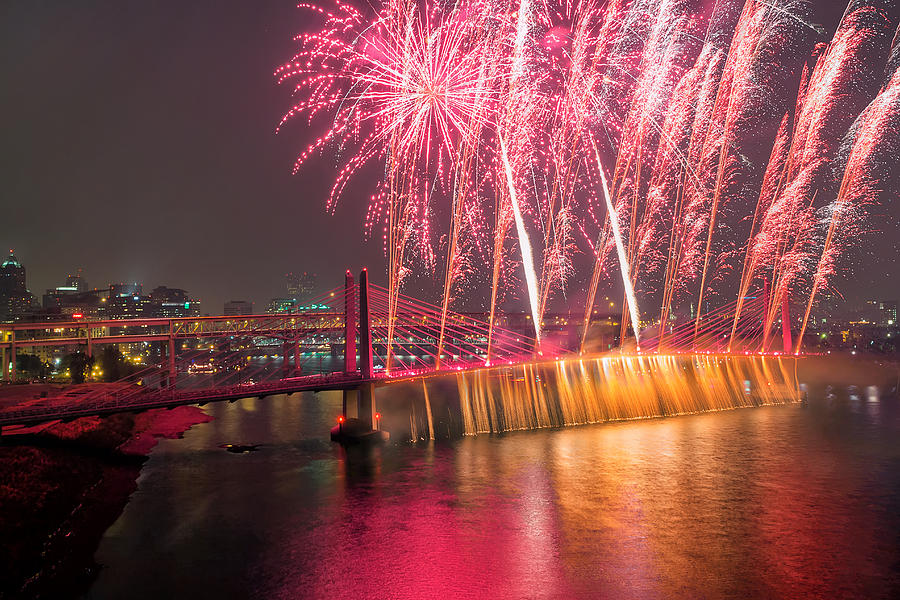 2015 Photograph - Fireworks And Waterfall by David Gn
