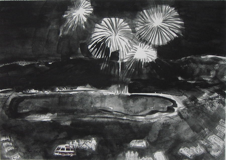 Fireworks Painting - Fireworks At Eagle Nest Lake...0oohh..aahh.. by Laurie Hill Phelps