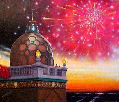 Fireworks Painting - Fireworks At Sunset by Bobbi Baltzer-Jacobo