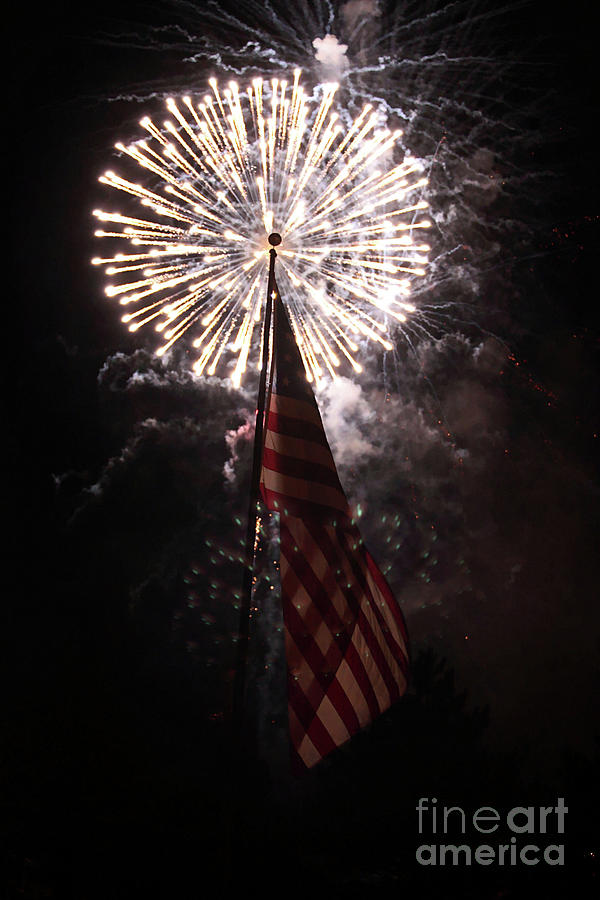 3d photograph fireworks behind american flag by alan look