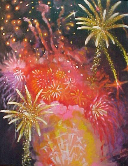 Fireworks Painting - Fireworks Celebration by Bobbi Baltzer-Jacobo