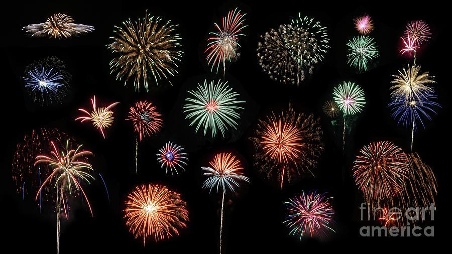 Fireworks Photograph - Fireworks Composite by Rebecca Warren