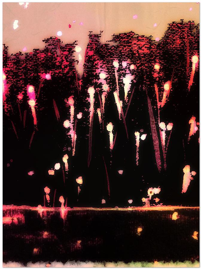 Black Digital Art - Fireworks by Cooky Goldblatt