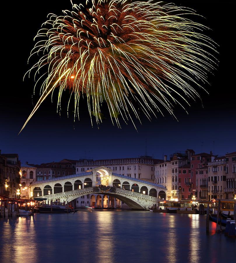 Rialto Bridge Photograph - Fireworks Display, Venice by Tony Craddock