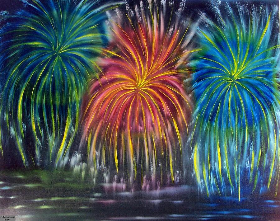 Firework Painting - Fireworks Explode by Marie Lamoureaux