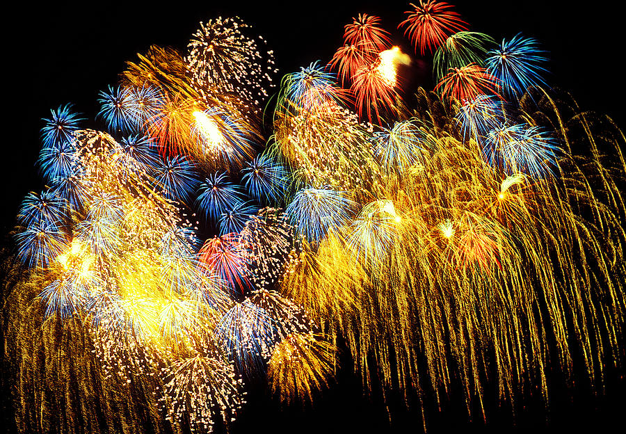 4th Of July  Photograph - Fireworks Exploding  by Garry Gay