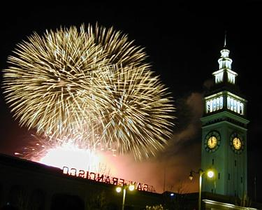 Fireworks Photograph - Fireworks - Ferry Building by Richard Nodine
