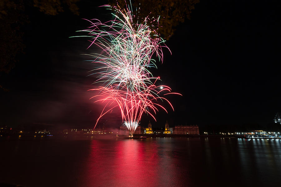 Fireworks Photograph - Fireworks In Greenwich  by Andrew Lalchan