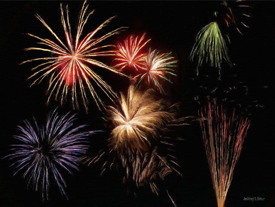 Fireworks Painting - Fireworks by Jeff Kolker