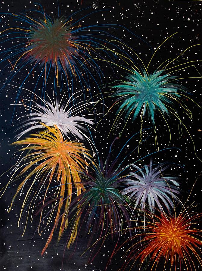 Fireworks Painting - Fireworks by Julia Collard