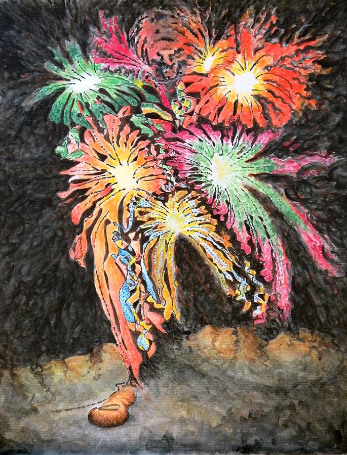 Colorful Painting - Fireworks Man by Dave Martsolf