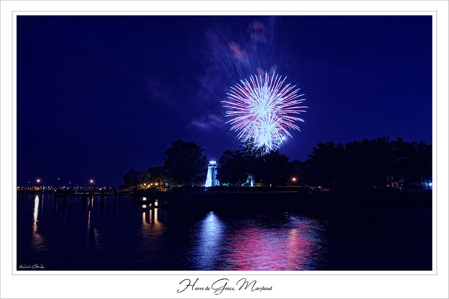 Concord Point Lighthouse Photograph - Fireworks Over Concord Point Lighthouse Havre De Grace Maryland Prints For Sale by Michael Grubb