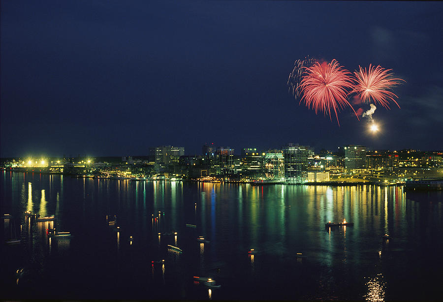 North America Photograph - Fireworks Over Halifax Harbor Celebrate by James P. Blair