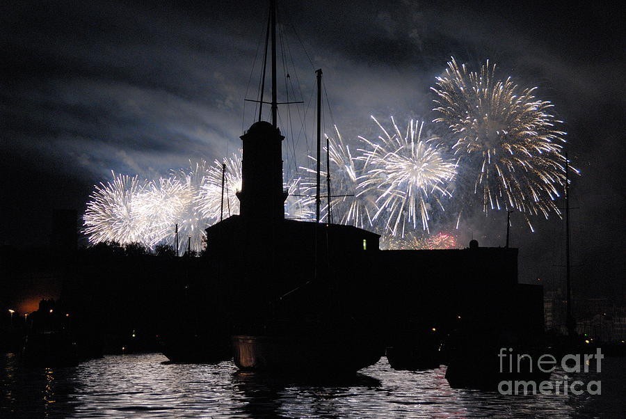 Horizontal Photograph - Fireworks Over Marseilles Vieux-port On July 14th Bastille Day by Sami Sarkis