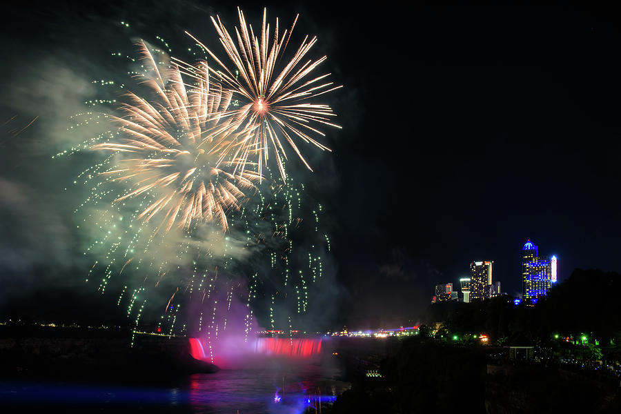 Canada Photograph - Fireworks Over Niagara Falls #1 by Michael Blanchette