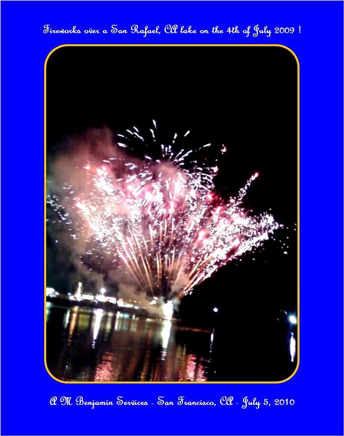Fireworks Photograph - fireworks over San Rafael lake by Anthony Benjamin
