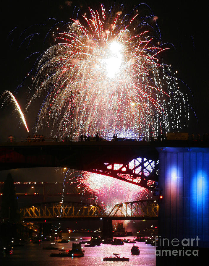 Digital Photography Photograph - Fireworks Over The River by Keith Dillon