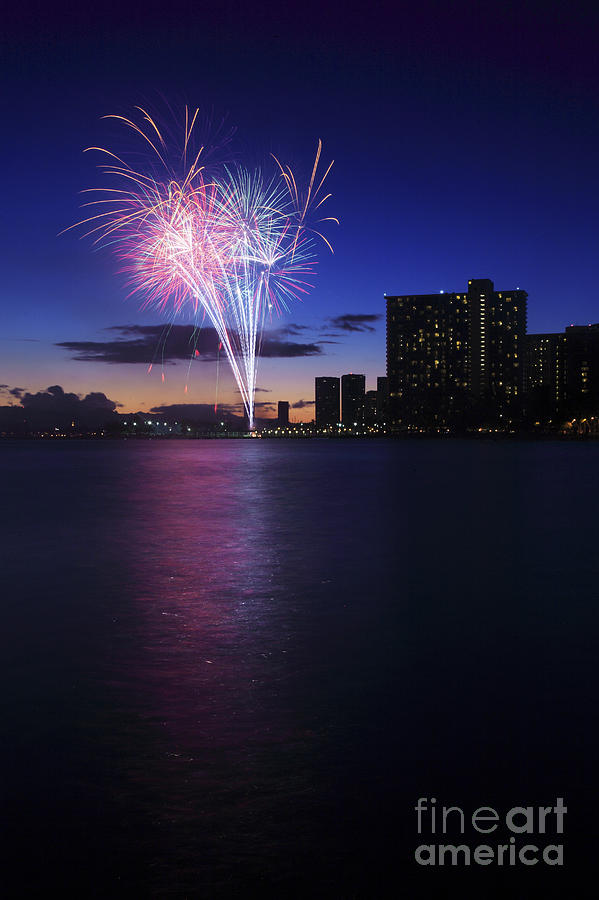 4th Photograph - Fireworks Over Waikiki by Brandon Tabiolo - Printscapes