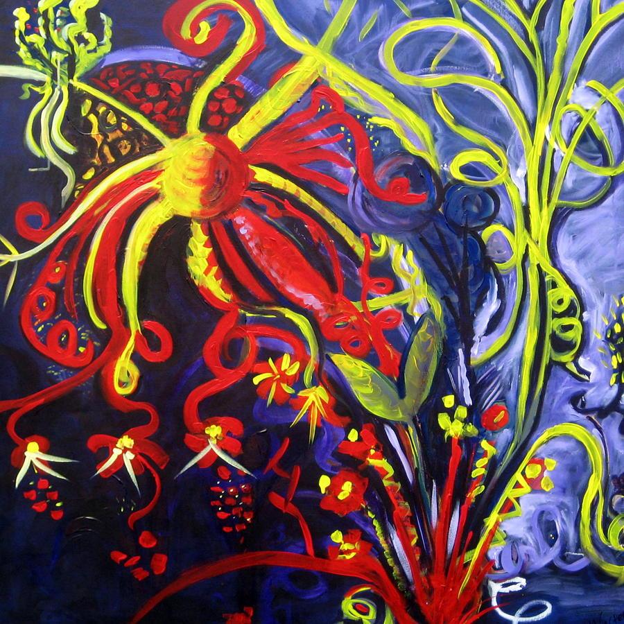 Vibrant Painting - Fireworks Three by Rebecca Merola