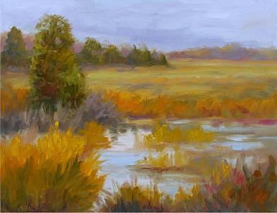 Landscape Painting - Firey Marsh by Jan Blencowe